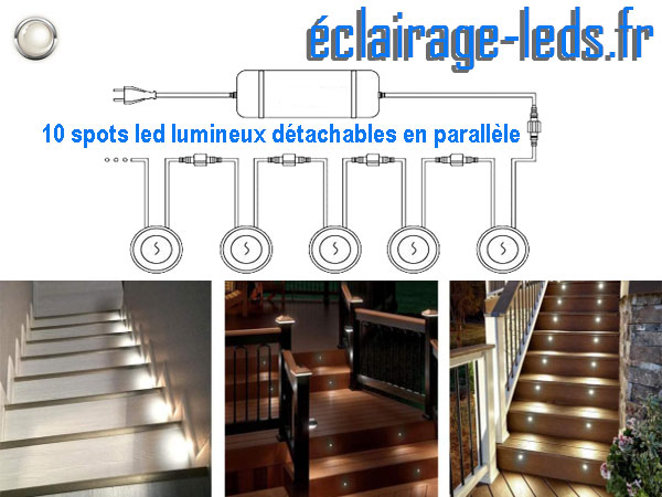 Kit 10 spots LED encastrables Mur et Sol 12v