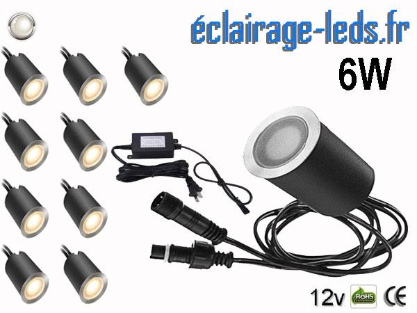 Kit 10 spots LED encastrables Mur et Sol 6w blanc 12v