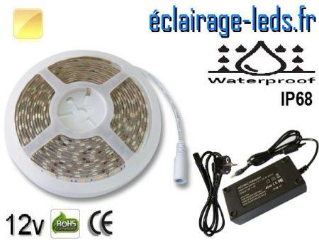 Kit bandeau à LED 5m couleur Blanc chaud IP68 12v