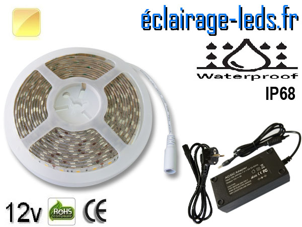 Kit bandeau à LED 5m couleur Blanc chaud IP68 12v