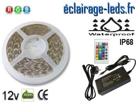 Kit bandeau LED Multi-Couleur 5m IP68 smd5050 12v