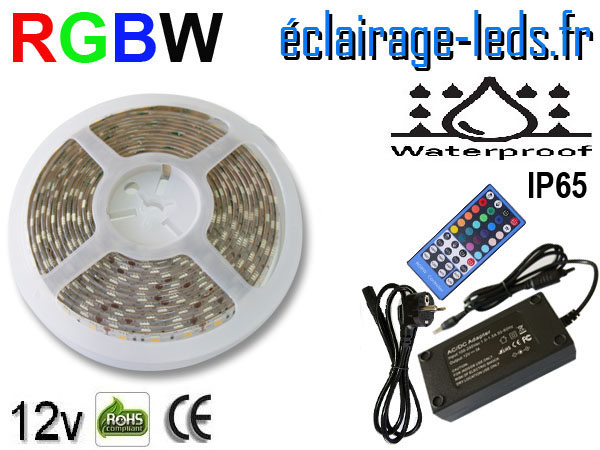 Kit avec un bandeau LED RGBW IP65