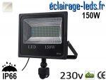 Projecteur LED extérieur 150w IP66 détecteur de présence Blanc 230v