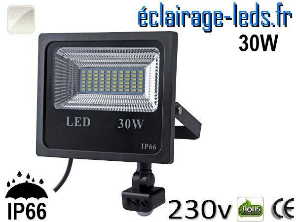 Projecteur LED extérieur 30w IP66 détecteur de présence Blanc 230v