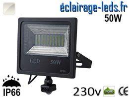 Projecteur LED extérieur 50w IP66 détecteur de présence Blanc 230v
