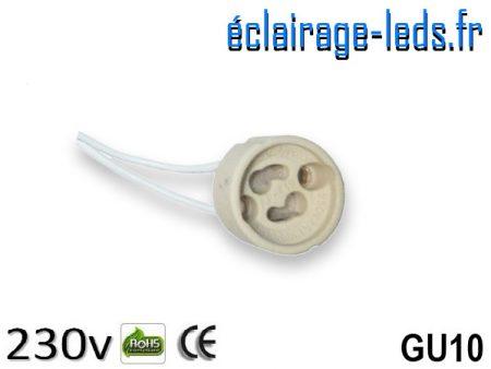 Douille LED GU10 fil denudé