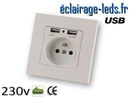 Prise électrique 230v double USB 5v