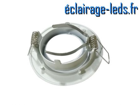 Support LED encastrable blanc orientable perçage 70mm 1