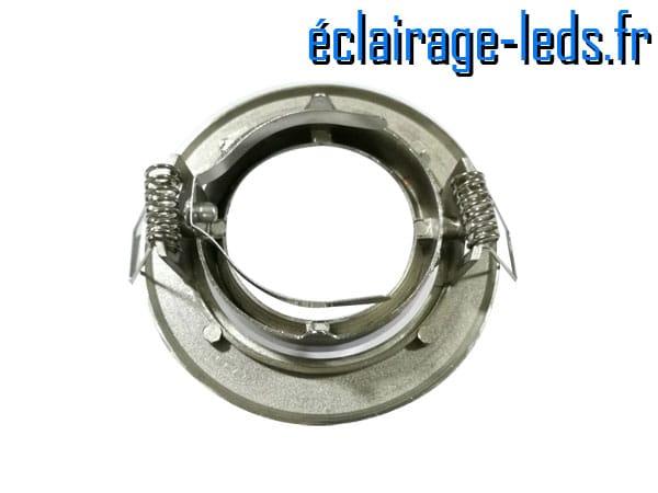 Support LED encastrable chrome orientable perçage 70mm 1