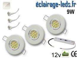 Kit Spot MR11 orientable blanc 12 LED blanc naturel 12V