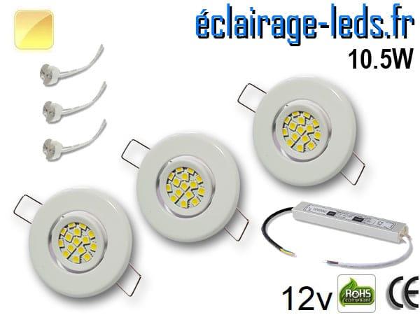 Kit Spot MR11 orientable blanc 15 LED blanc chaud 12V