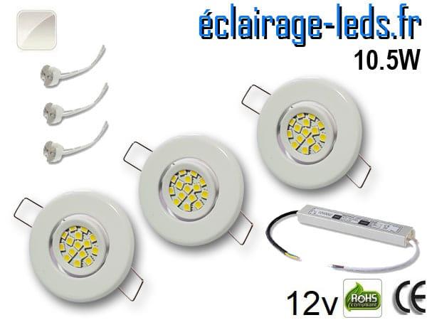 Kit Spot MR11 orientable blanc 15 LED blanc naturel 12V