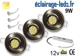 Kit Spot MR11 orientable chrome 12 LED blanc chaud 12V