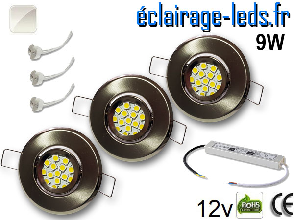 Kit Spot MR11 orientable chrome 12 LED blanc naturel 12V
