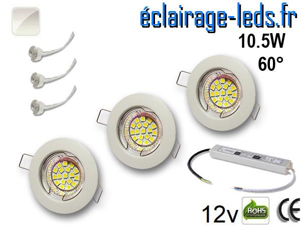 Kit Spot MR16 fixe blanc 18 LED blanc naturel 60° 12V