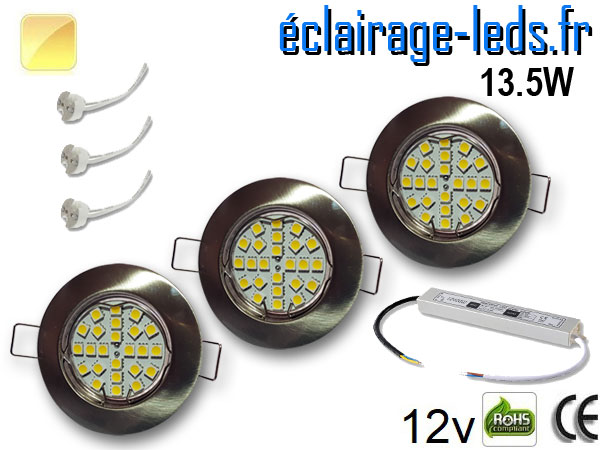 Kit Spot MR16 fixe chrome 21 LED Blanc chaud 12V
