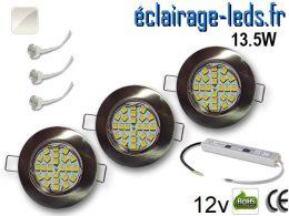 Kit Spot MR16 fixe chrome 21 LED Blanc naturel 12V