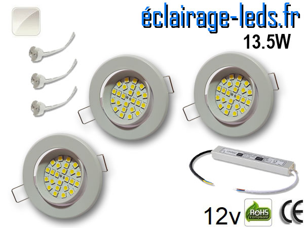 kit Spot MR16 orientable blanc 21 LED blanc naturel 12V