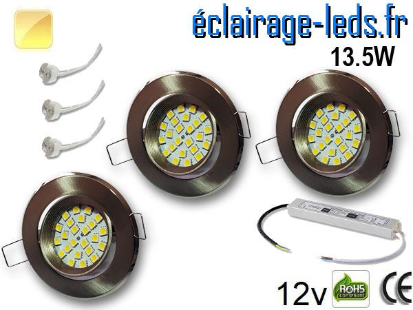 kit Spot MR16 orientable chrome 21 LED blanc chaud 12V
