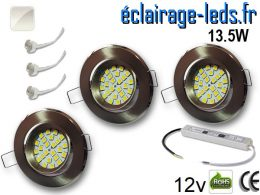 kit Spot MR16 orientable chrome 21 LED blanc naturel 12V