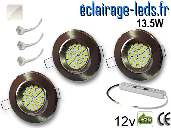 kit Spot MR16 orientable chrome 21 LED blanc naturel 12V