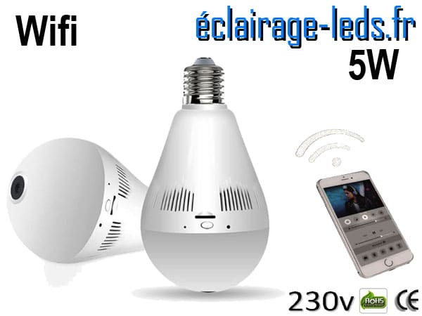 Ampoule LED E27 5W Caméra Wifi 230v