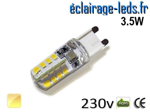 Ampoule LED G9 3.5w silicone blanc chaud 230v