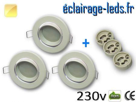 Spots LED Gu10 Blanc chaud orientable Ø 70mm