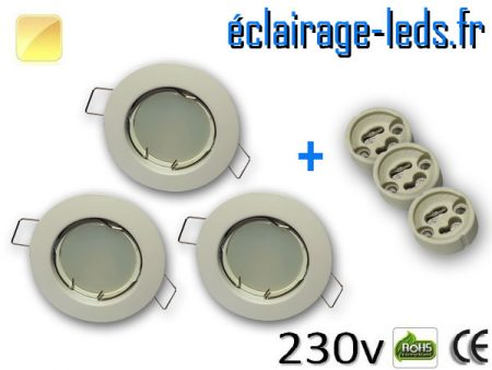 Spots LED GU10 Blanc chaud fixe blanc Ø 60mm