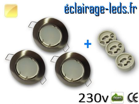Spots LED GU10 Blanc chaud fixe chrome Ø 60mm