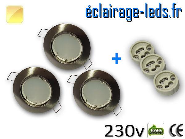 Spots LED GU10 Blanc chaud fixe chrome Ø 60mm
