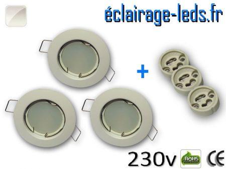 Spots LED GU10 Blanc naturel fixe blanc Ø 60mm
