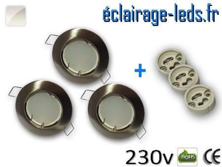 Spots LED GU10 Blanc naturel fixe chrome Ø 60mm