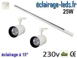 Spots LED blanc sur rail 25w 15° blanc naturel 230v