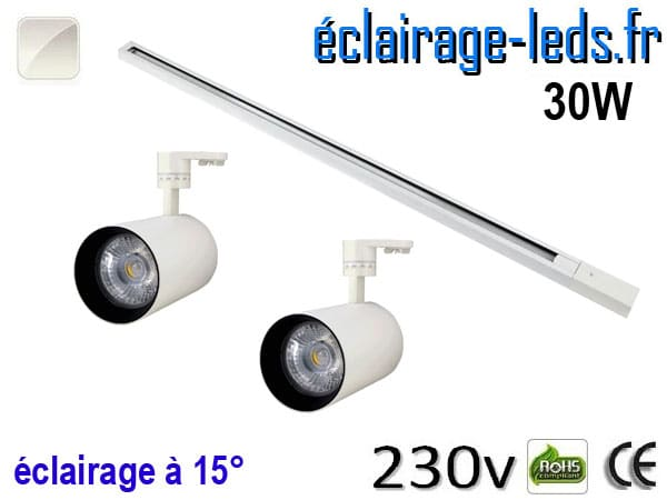 Spots LED blanc sur rail 30w 15° blanc naturel 230v