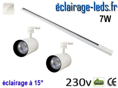 Spots LED blanc sur rail 7w 15° blanc naturel 230v
