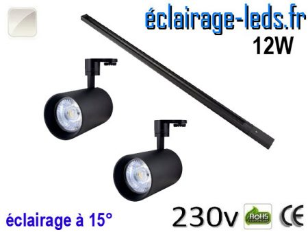 Spots LED noir sur rail 12w 15° blanc naturel 230v