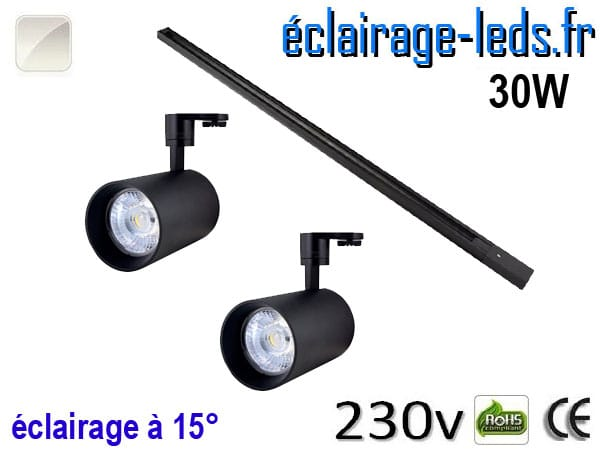 Spots LED noir sur rail 30w 15° blanc naturel 230v