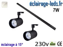 spots led noir sur rail 7w 15° blanc naturel 230v
