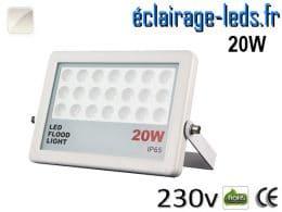 Projecteur LED extérieur plat 20W IP65 blanc 230v