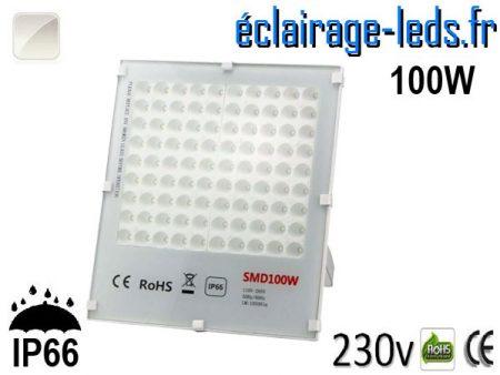 Projecteur LED exterieur Ultra plat 100W IP66 blanc 230v