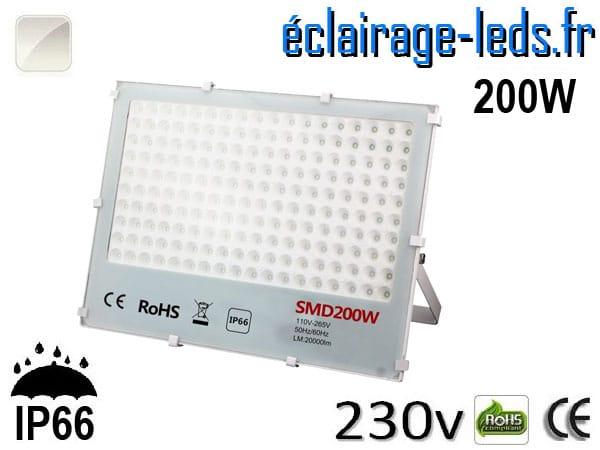 Projecteur LED exterieur Ultra plat 200W IP66 blanc 230v