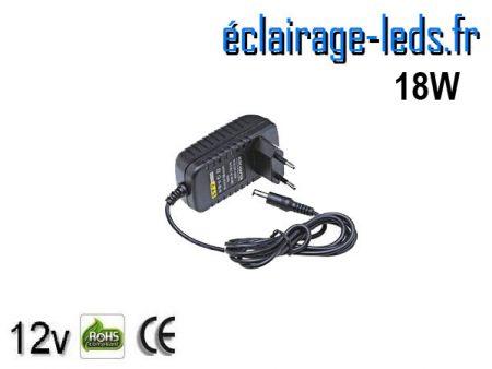 Transformateur LED 12V DC sur prise 18W