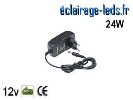 Transformateur LED 12V DC sur prise 24W
