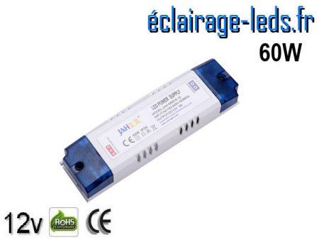 Transformateur LED pour intégration 12V DC 60W