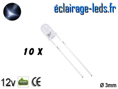 Lot de 10 LEDs blanches 7000 mcd 30°