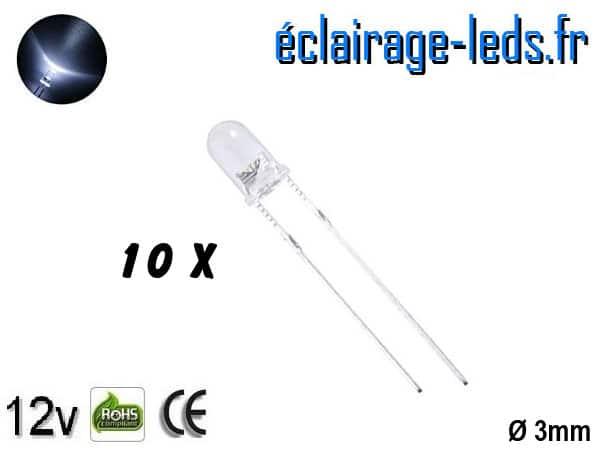Lot de 10 LEDs blanches 7000 mcd 30°