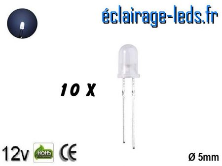 Lot de 10 LEDs blanches diffusante 5000 mcd 15°