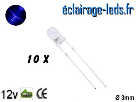 Lot de 10 LEDs bleues 3500 mcd 470 nm 30°