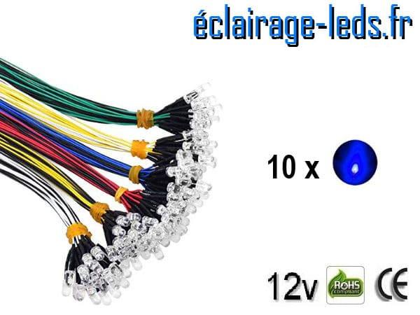 Lot de 10 LEDS bleues câblées 12v DC